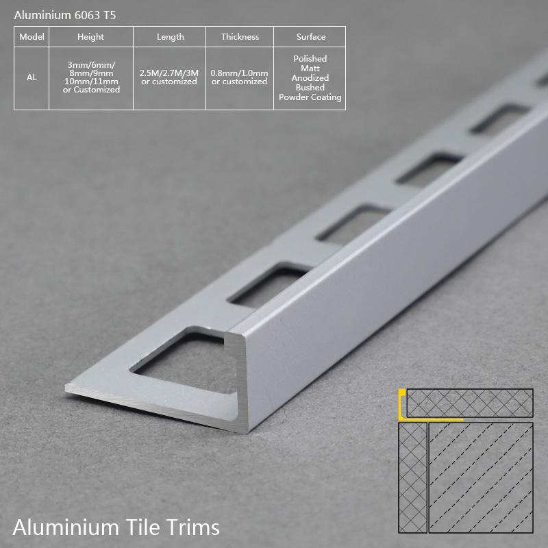 Aluminium L Shape Wall And Floor Tile Trim AL